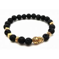 Lava-steen Boeddha armband  Goud