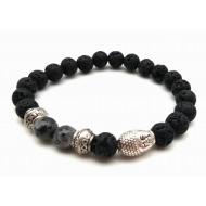 Lava-steen Armband met edelsteen labodorite - Boeddha