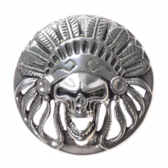 Metalen Leder Applicatie/studs  Indian Chief Skull Zilverkleur