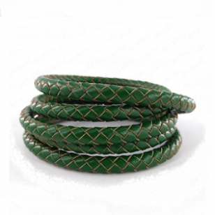 Leer Gevlochten 6mm Groen 20cm