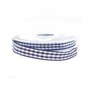 Geruit Lint 15mm Blauw/Wit