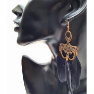 Bronzen oorbellen  met veren - Zwart