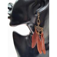 Bronzen oorbellen met veren - Bruin  #2