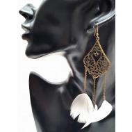 Bronzen oorbellen met veren - Wit  #3