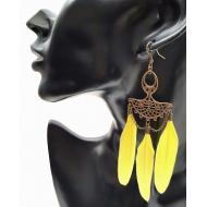 Bronzen oorbellen met veren - geel