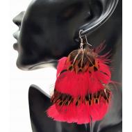 Veren oorbellen -- Rood/naturel