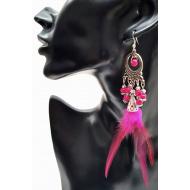 Lange veren oorbellen met kralen -donker roze