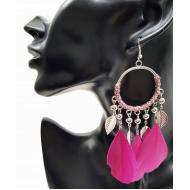 Veren oorbellen ringen donker-roze