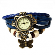 Horloge Retro Blauw leer Vlinder