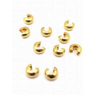 Metalen verberger - knijpkraal - goudkleur- 7mm