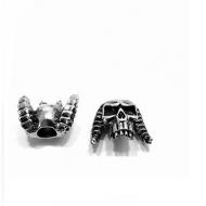 Kraal Skull met hoorns Rvs