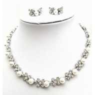 Set: Collier en oorbellen parel met strass