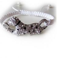 Armband geknoopt  zilveren Tijger