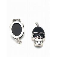 Stainless steel hanger - Edelsteen Black Agaath  Skull doodshoofd