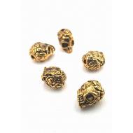 Kraal metaal goud  Skull/ Doodshoofd massief