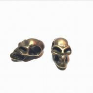 Bronzen kraal -Skull  groot gat