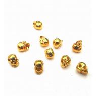 Kleine Kraal- Skull goudkleur  6mm