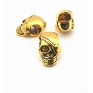 Metalen Gouden Skull - Doodshoofd kraal groot gat - Extra groot