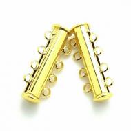 Sluiting schuif- magneet goud- 5 haakjes/ogen  30 mm